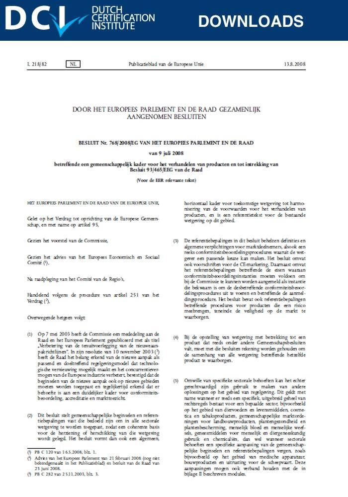 Decision –  768/2008/EC