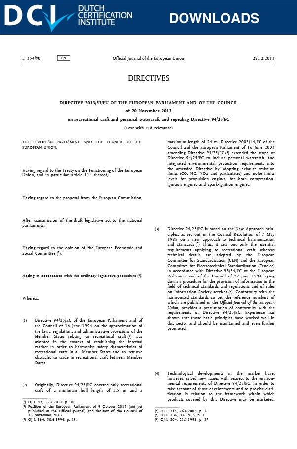 Richtlijn 2013/53/EU